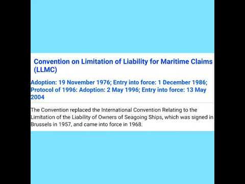 Introduction to Limitations of Liability for Maritime claim & Bunker CLC Convention