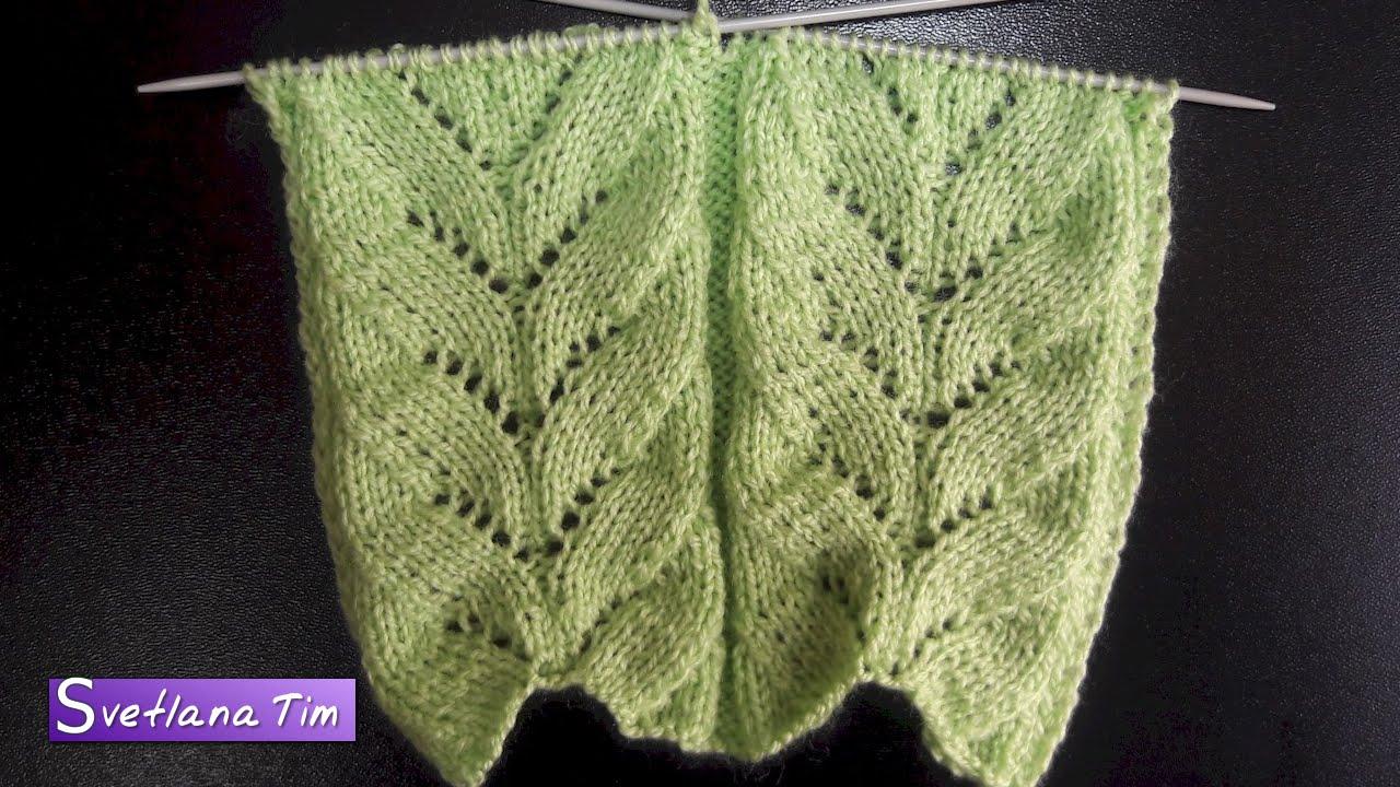 Вязание спицами ажурного топа с листиками 19