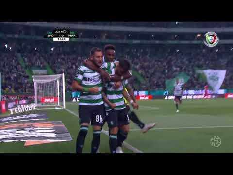 Goal | Golo Bruno Fernandes (g.p.): Sporting (1)-0 Marítimo (Liga 18/19 #6)