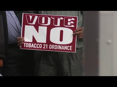 VIDEO: Convenience store owners stage Tobacco 21 protest at City Hall