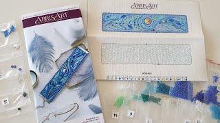 """Обзор набора """"Перистое касание"""" от Abris Art (браслет, вышивка бисером, бусинами, стразами)"""