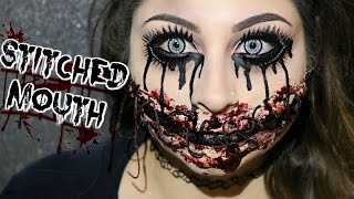 Stiched Mouth Halloween Makeup Tutorial | BeautyByJosieK