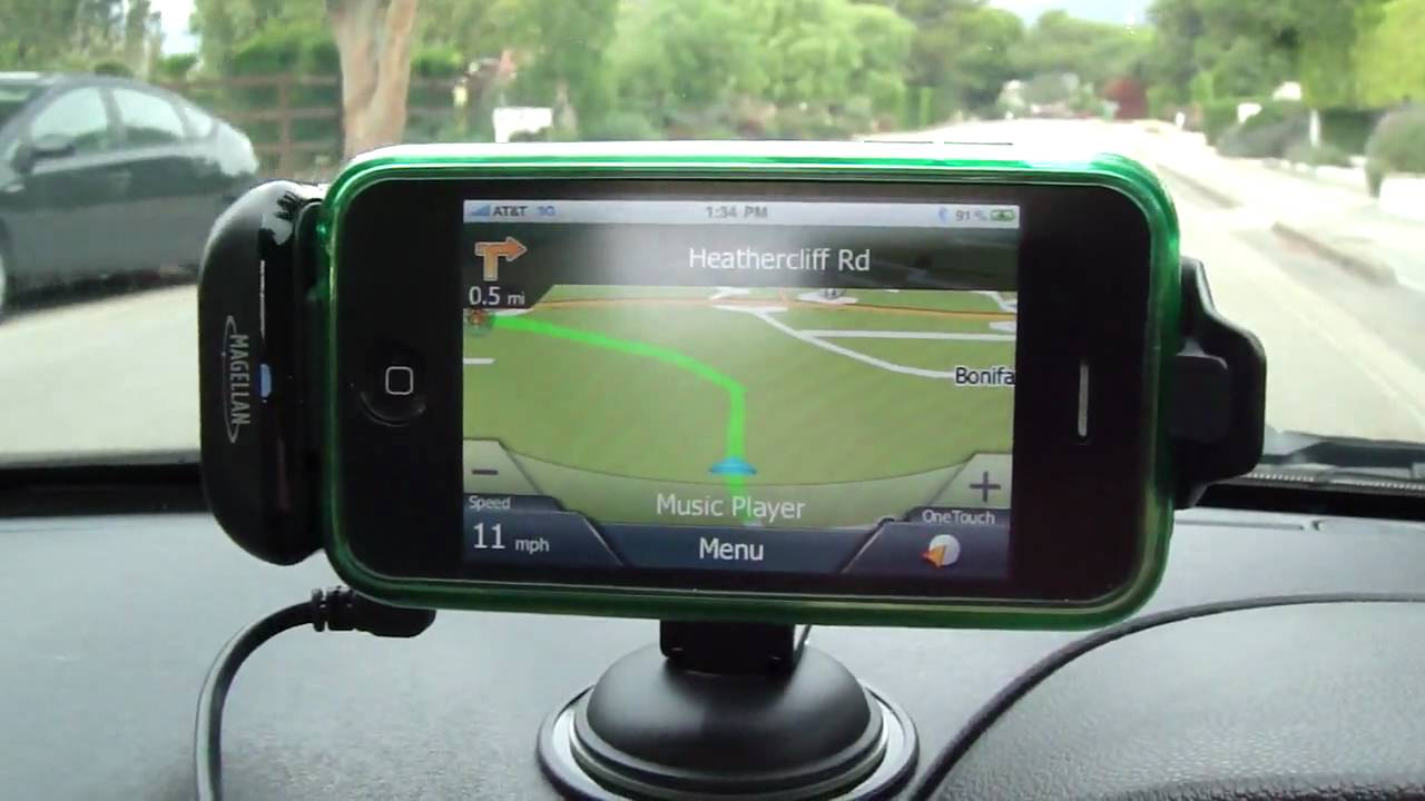 Magellan gps navigation premium car kit pre release in car on road review iphone or ipod touch youtube