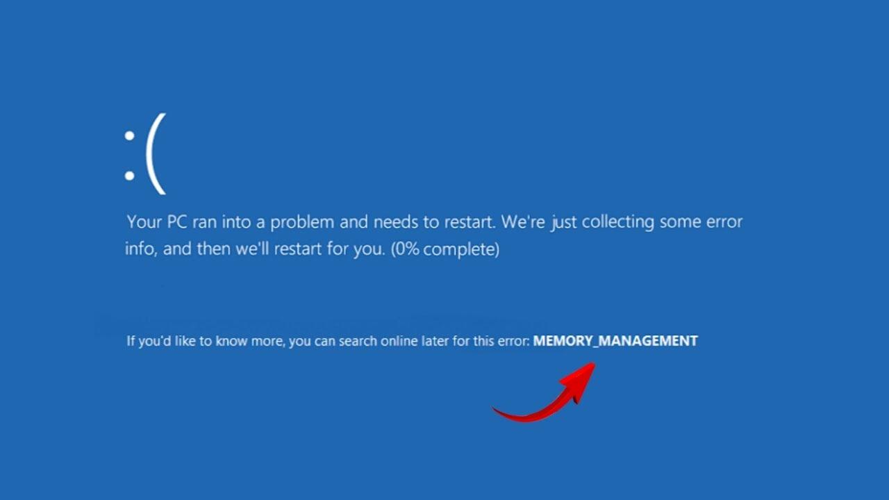 حل مشكلة الشاشة الزرقاء خطأ في إدارة الذاكرة Youtube