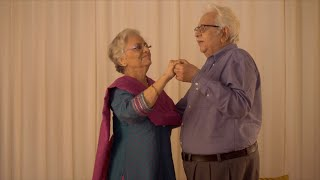 Adorable old Indian couple doing ball dance at home