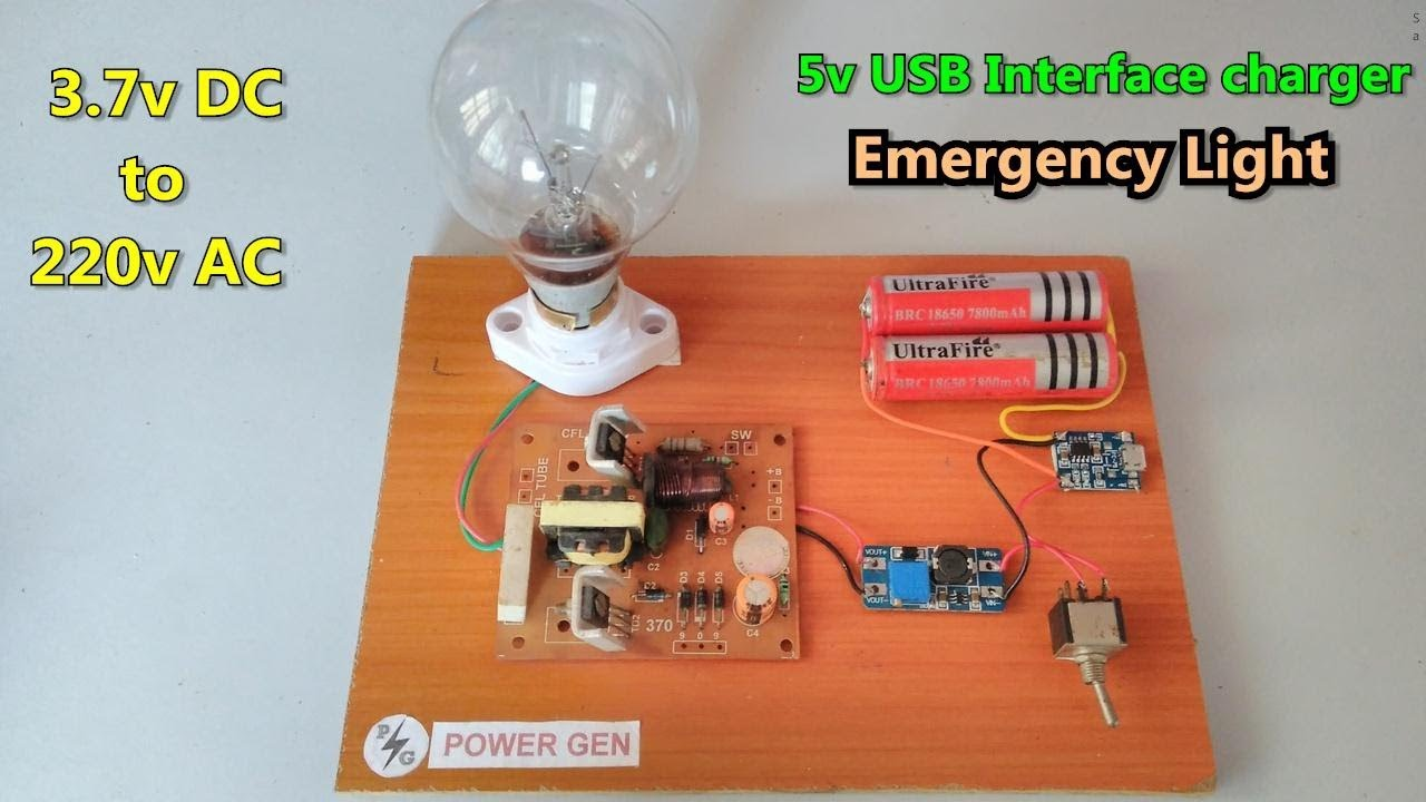 37v Dc To 220v Ac Emergency Light Using Li Ion Battery And Usb How Make A Simple Circuit Onoff Switch For Lightbulb Batteries Charger Module 14w Inverter Board Power Gen