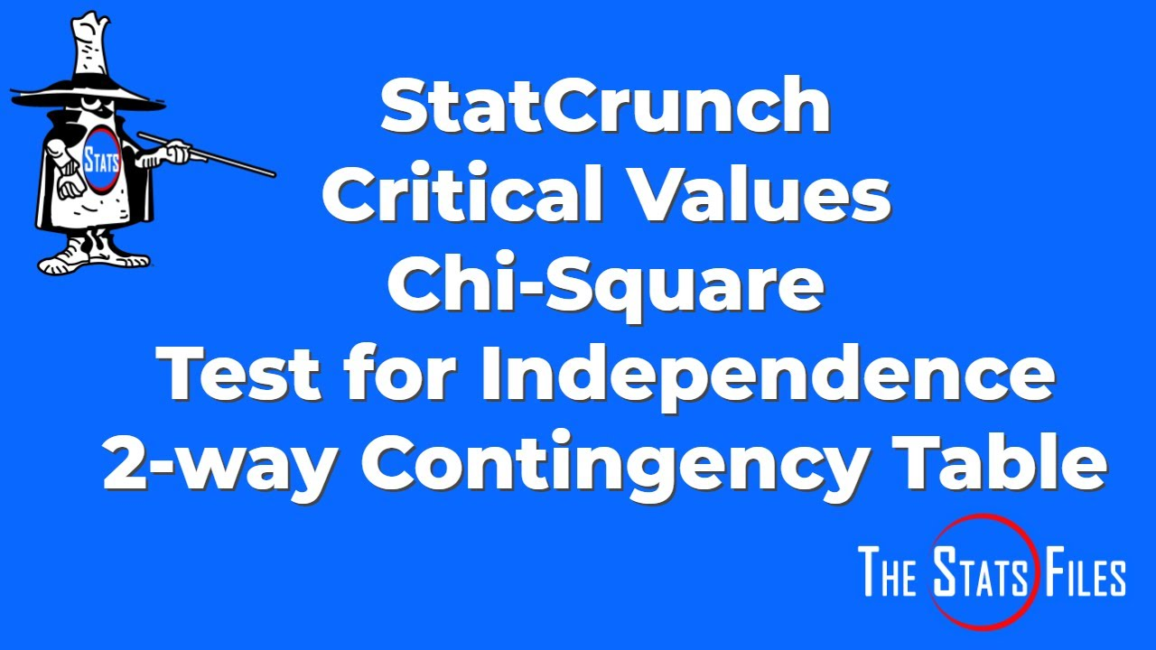 Find critical value of chi square for two way contingency table find critical value of chi square for two way contingency table using statcrunch watchthetrailerfo