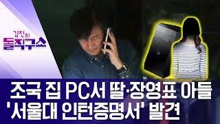조국 집 PC서 딸·장영표 아들 '서울대 인턴증명서' 발견 | 김진의 돌직구쇼