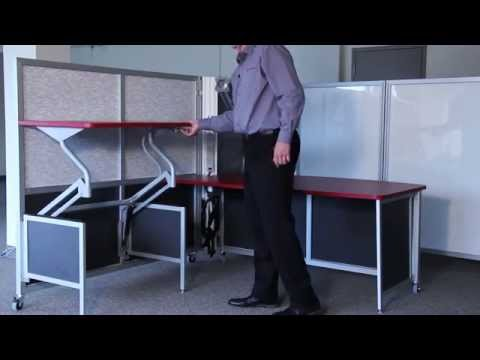 Mobile Collapsible Workstations Rolling Fold Up Desks Temporary Cubicles