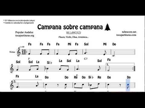 Campana Sobre Campana Partitura Con Notas Y Acordes Flautas Violín Oboe Villancico Youtube