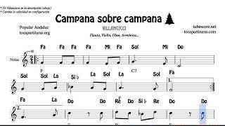 Campana sobre campana Partitura con Notas y Acordes Flautas, Violín, Oboe Villancico
