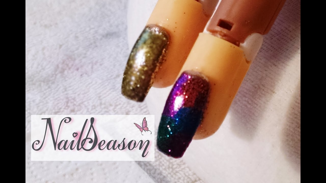 diy acrylic nails stepstep metallic glitter effect 2016 - youtube