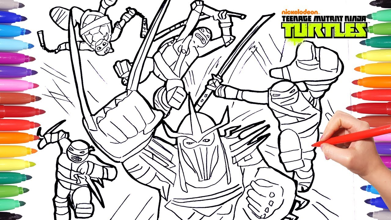 Ninja Turtles Battle Shredder Coloring Pages For Kids Draw Color Tmnt Coloring Book Youtube