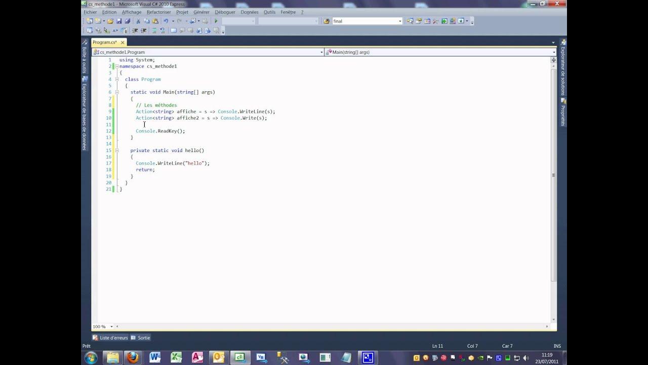 Tutoriel 20 méthode 1 en C# en français première partie