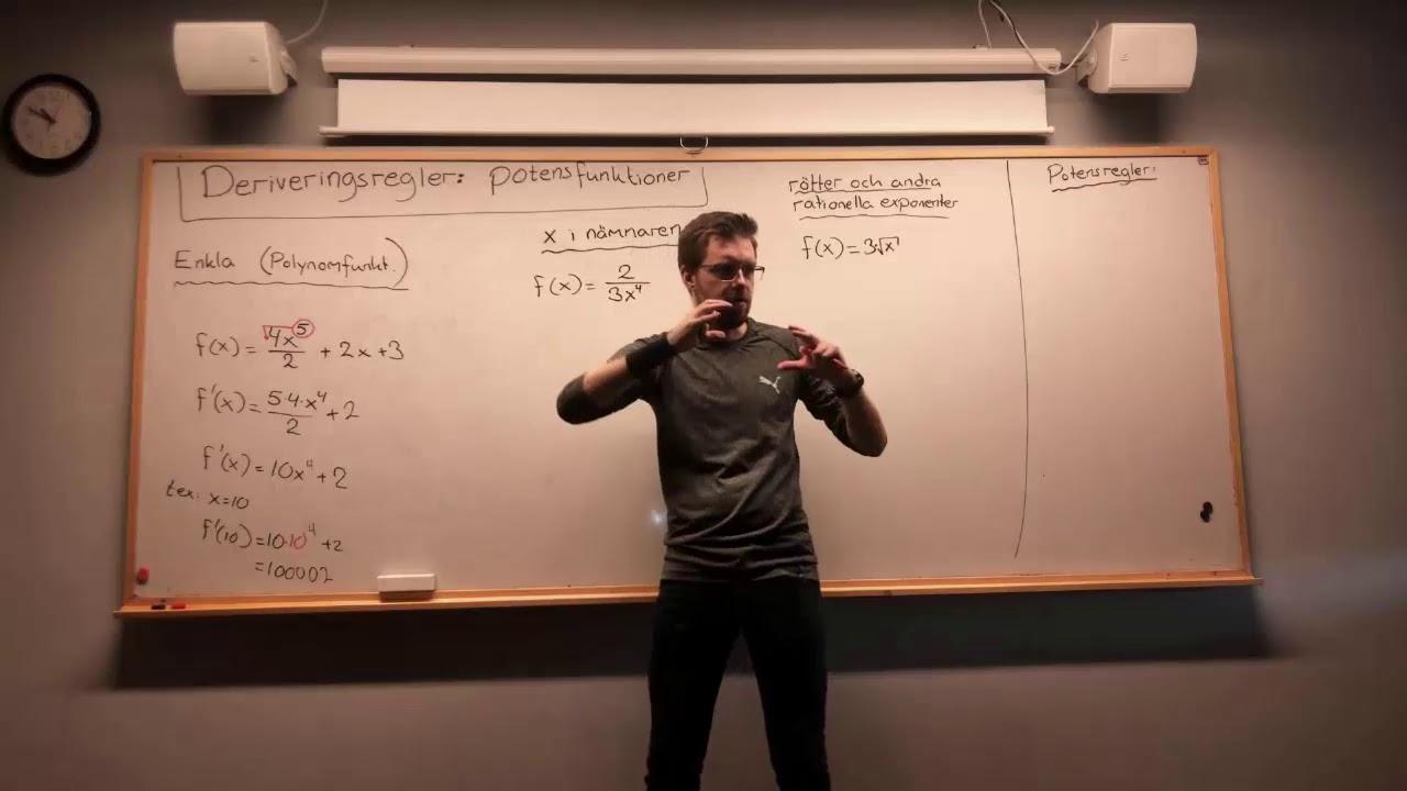 Matematik 3: DERIVERINGSREGLER: Potensfunktioner (x i nämnaren, samt roten ur).