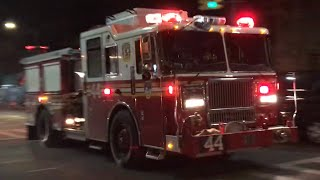 FDNY ENGINE 44 RESPONDING TO REPORTS OF A FIRE ON WEST END AVENUE ON WEST SIDE OF MANHATTAN IN NYC.