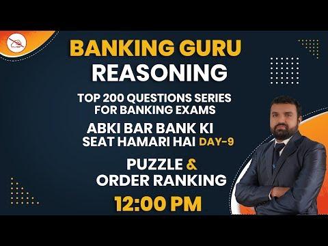REASONING   BANKING GURU   BY GAURAV MAHENDRAS   PUZZLE   ORDER RANKING   12:00 PM