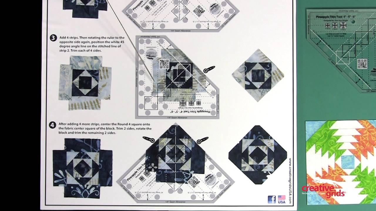 CGRJAW3MINI Creative Grids Mini Pineapple Trim Tool Quilting Ruler Template