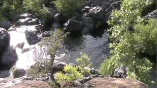 Panning up to Dam at Bear hole upper Bidwell park Chico State CA 2009
