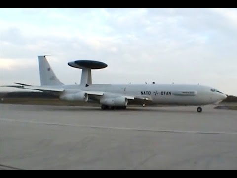 NATO AWACS E-3A (Boeing 707-300 Early Warning) noisy taxi and takeoff scenes! [AirClips]