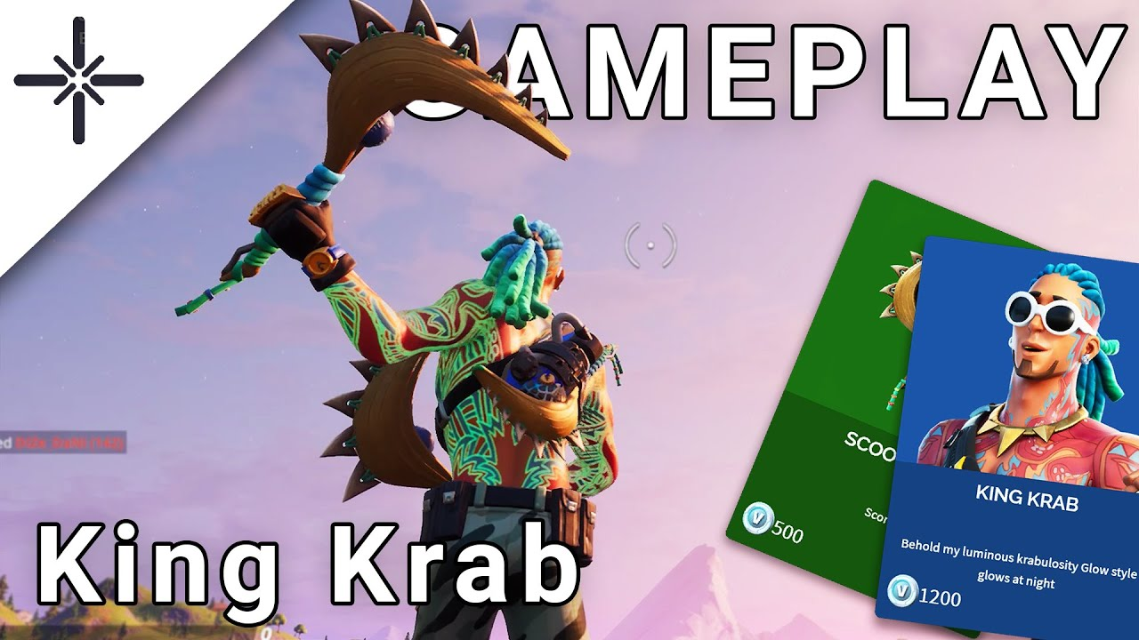 "NEW ""King Krab"" Fortnite Skin Gameplay with ""Scoop Shot"" Dual Pickaxe Harvesting Tool (All Variants)"