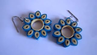 Handmade Paper Quilling Earrings - Oval Tilted