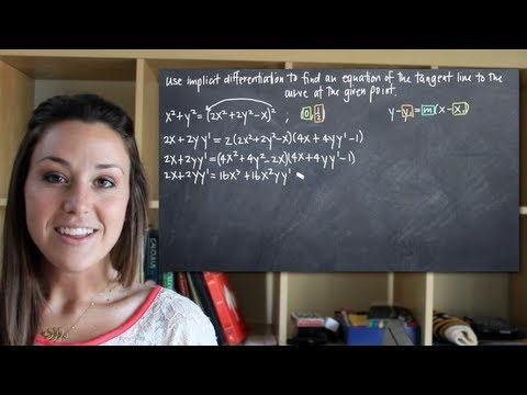 Use implicit differentiation to find the equation of the tangent line at a point (KristaKingMath)
