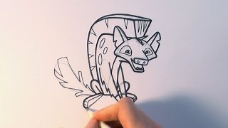 How to Draw a Cartoon Hyena From Animal Jam   zooshii Style