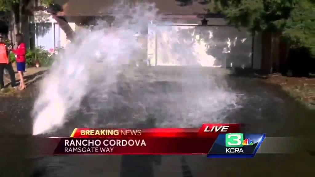 Water spews from broken pipe in Rancho Cordova