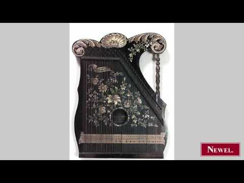 Antique English Victorian black lacquered zither with gold