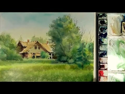 Watercolor Painting : Abandoned houses in forest
