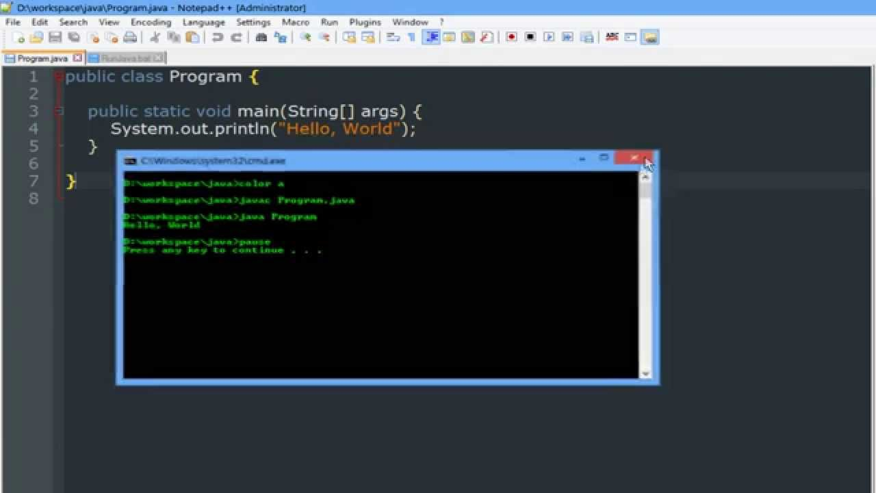 Using Notepad++ to Compile and Run Java Programs