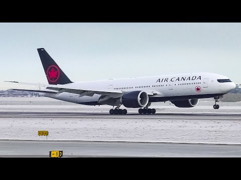Air Canada Boeing 777-200LR Landing and Takeoff at Calgary Airport