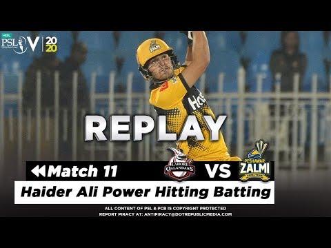 Haider Ali Power Hitting Batting   Lahore Qalandars Vs Peshawar Zalmi   Match 11