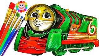Coloring Thomas and Friends PERCY Trains for Kids Drawing