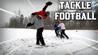 BACK YARD TACKLE FOOTBALL IN THE MIDDLE OF A SNOW STORM!!