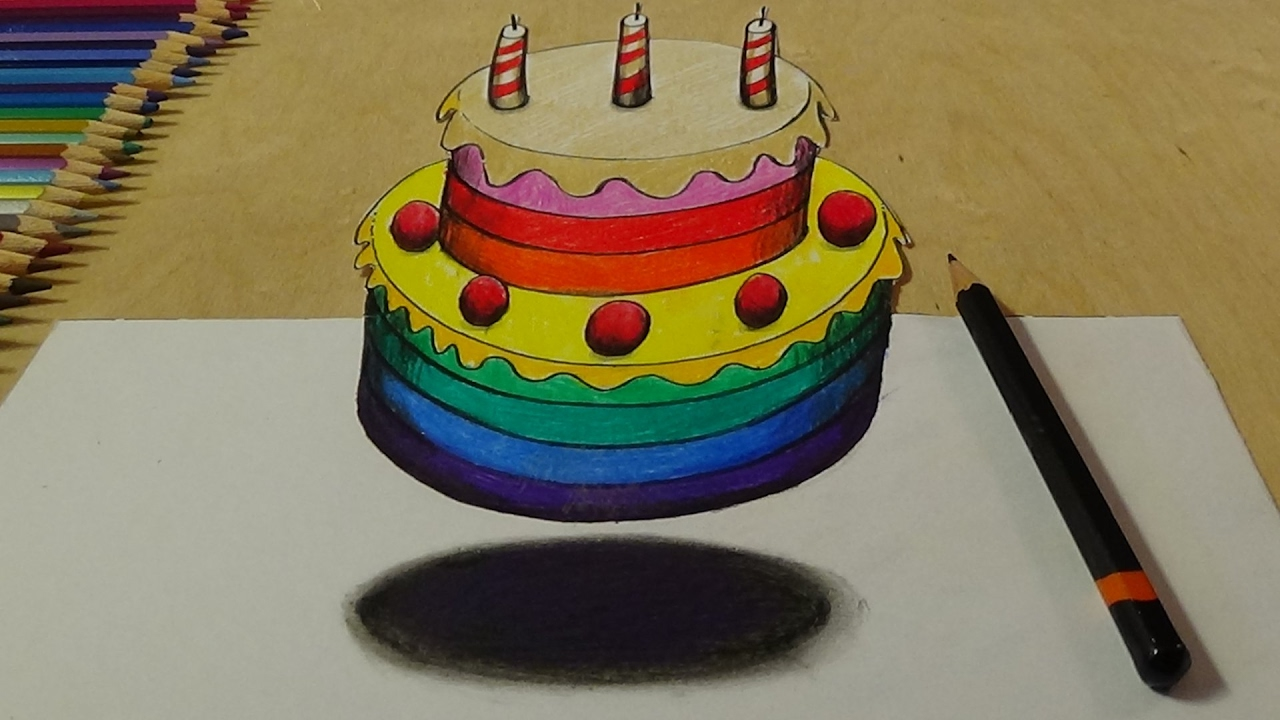 Coloring pages cake decorating - Learn Colors For Kids And Rainbow Cake Coloring Page