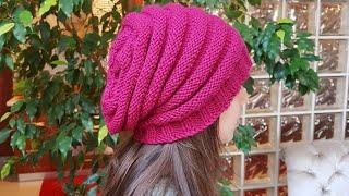 Kolay Örgü Kadın-Erkek Bere /Slouch Knitted Hat