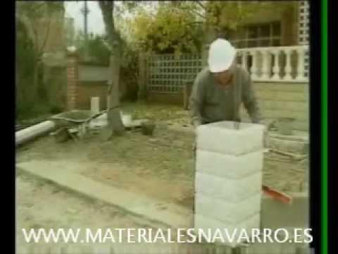 Colocaci n de pilares y youtube - Como colocar ladrillos en una pared ...