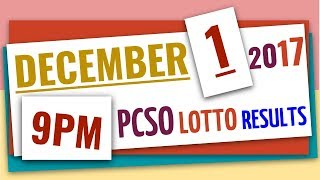 Lotto Results December 1, 2017 at 9:00 pm (Evening draw) ft 6-58, 6-45, 4D, EZ2 & Swertres