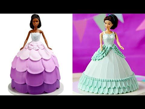 Awesome Barbie Doll Cake Decorating Tutorials   Simple Wedding Dress Princess Cake Decorating #4