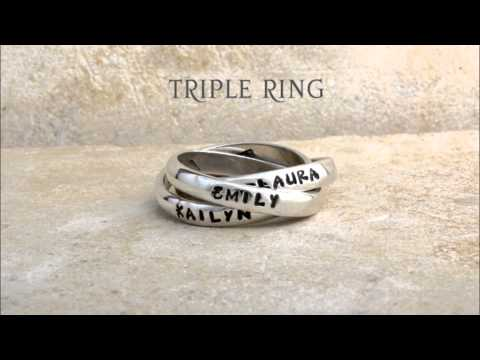 Sterling Silver Stamped Personalized Birthstone Intertwined Custom Rings by Nelle and Lizzy