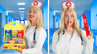CRAZY WAYS TO SNEAK CANDY INTO HOSPITAL    Weird Sneaky Tricks And Tips By 123 GO!