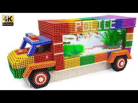 DIY - Build Amazing Police Car Fish Tank Aquarium With Magnetic Balls (Satisfying) - Magnet Balls thumbnail