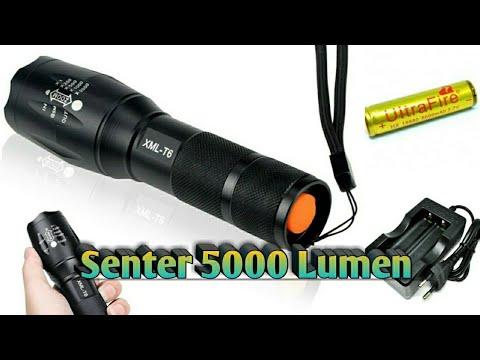 Senter Seterang Lampu Motor | Unboxing & Review Senter XML T6 LED CREE 5000 Lumens