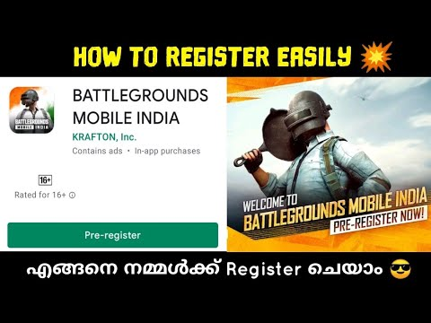 How To Pre Register Pubg Mobile / Battlegrounds Mobile India In Malayalam