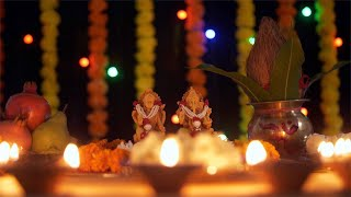 Beautiful oil lamps decorated around Ganesh Ji and Lakshmi Ji on Diwali - the festival of India