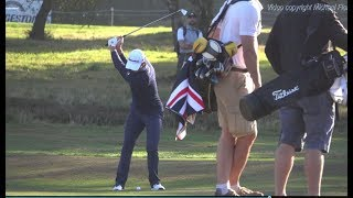 Justin Rose Golf Swing mid-Iron into upslope (FO view), Sky Sports British Masters, October 2018.