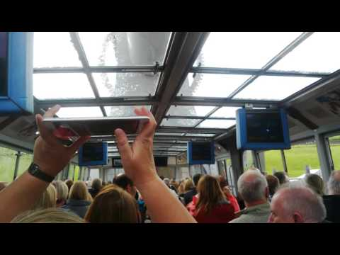 Inside a trip boat going up the Falkirk Wheel