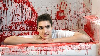 50 gallons of fake blood in bathtub halloween bath challenge